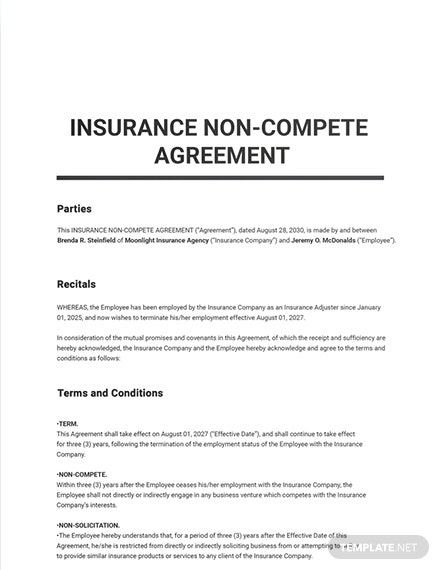 Insurance Non Compete Agreement Sample