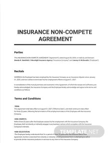 Insurance Non Compete Agreement Template