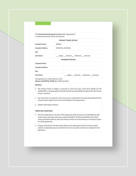Roommate Rental Agreement Form Template Word Google Docs