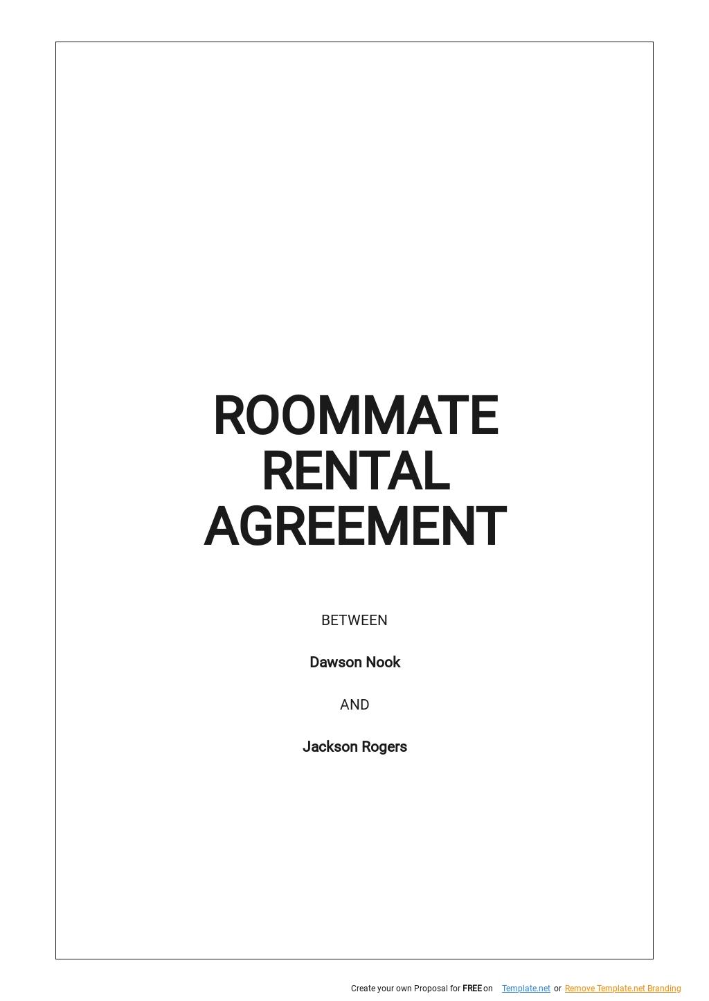 Roommate Rental Agreement Form Template.jpe