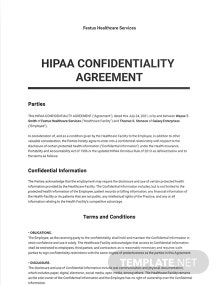 HIPAA Confidentiality Agreement Template