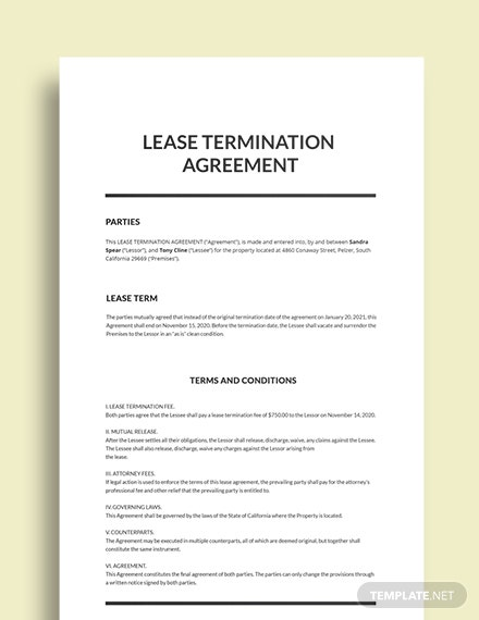 Lease Termination Agreement Template