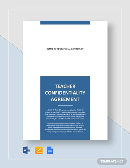 Teacher Confidentiality Agreement Template