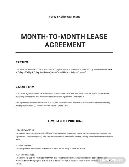Month-to-Month Lease Agreement Template