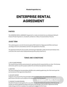 Enterprise Rental Agreement Template