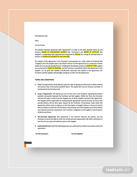 Blanket Purchase Agreement Template Word Google Docs