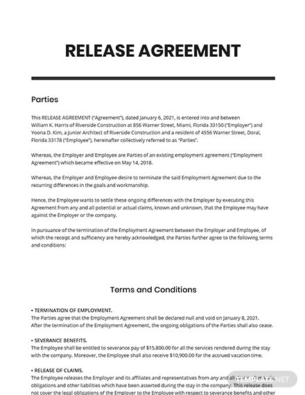 Release Agreement Template
