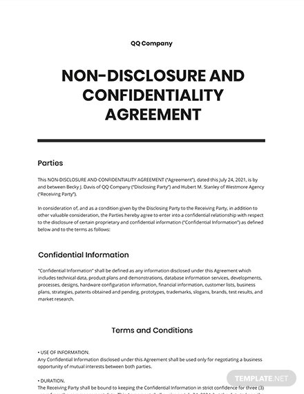 Non-disclosure and Confidentiality Agreement Template