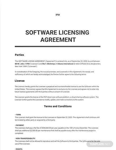 Software License Agreement Sample