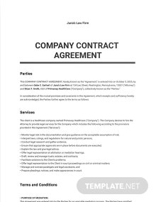 Company Contract Agreement Template