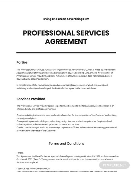 Professional Services Agreement Template