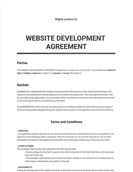Website Development Agreement Template