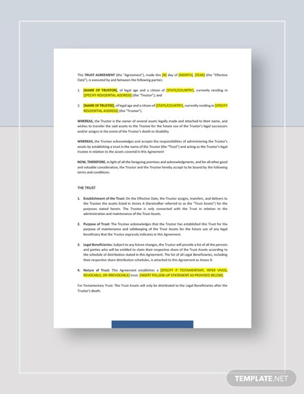 Trust Agreement Template Word Google Docs Apple Pages