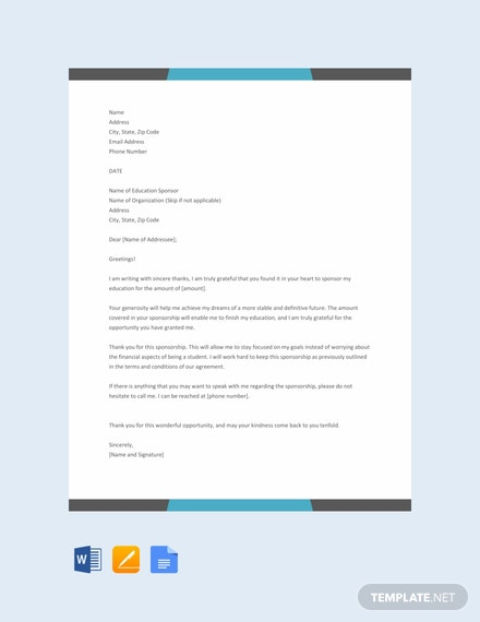 Free Thank You Letter for Sponsoring Education Template