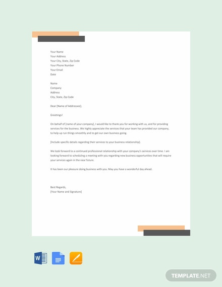 Free Thank You Letter for Your Service Template
