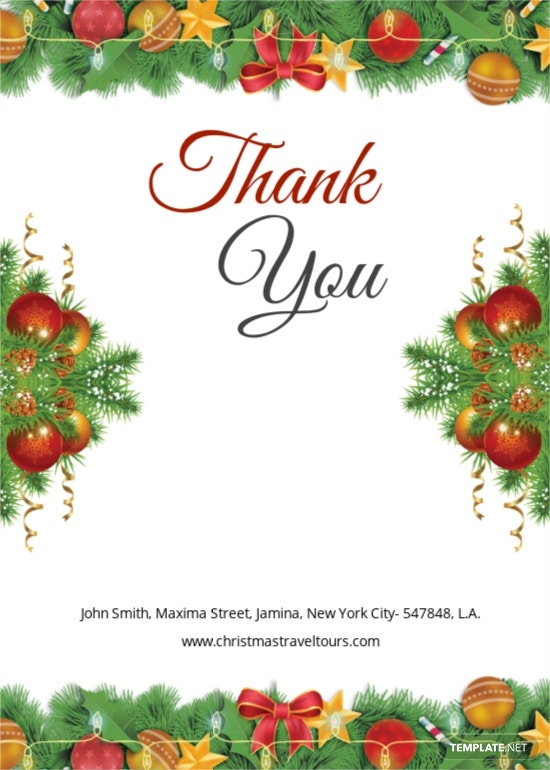 Christmas Brochure Thank You Card Template