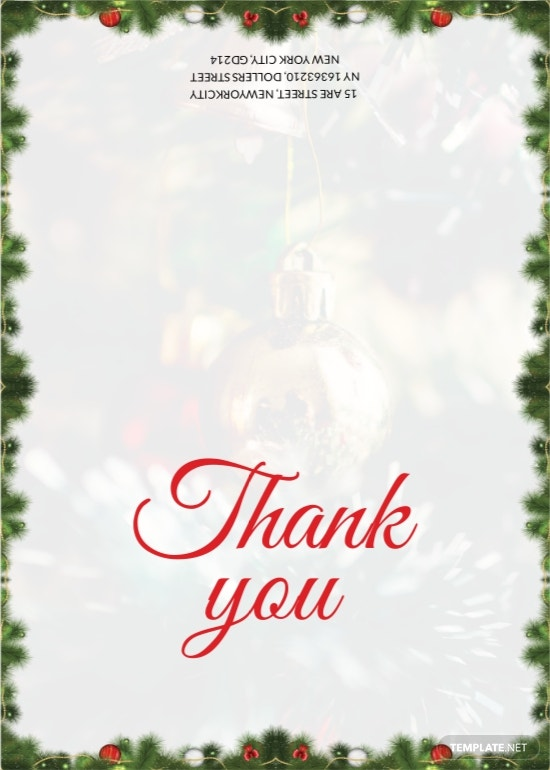 Christmas Invitation thank you card Template