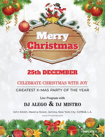 Free Christmas Party Poster Template