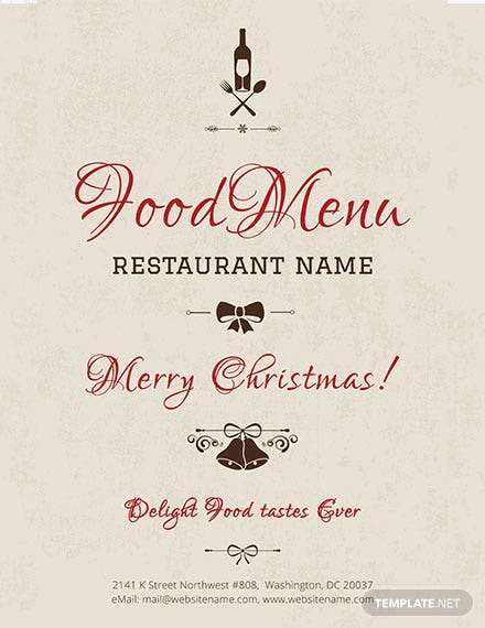 Free Christmas Menu Poster Template