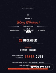 Free Christmas Club Party Poster Template
