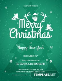 Free Christmas Club Poster Template