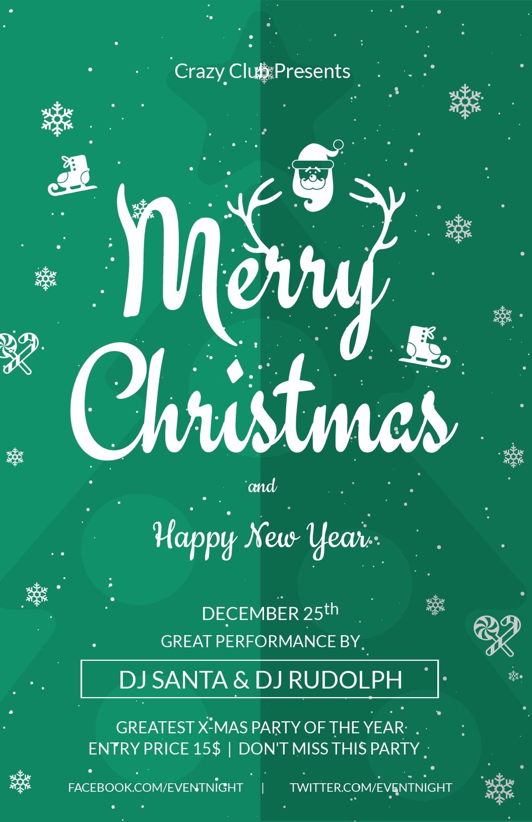 Christmas Club Poster Template
