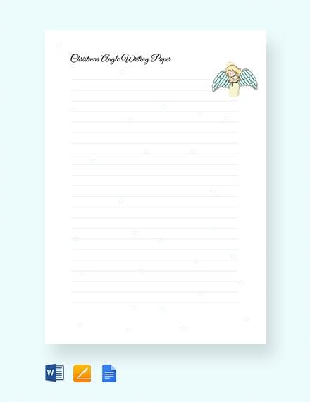 Free Christmas Angel Writing Paper Handwriting Template