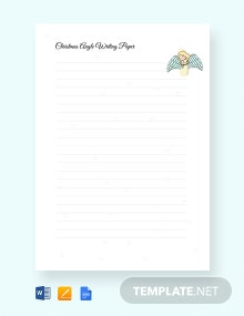 Free Christmas Angel Writing Paper Handwriting Template