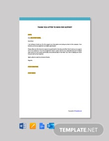 Free Thank You Letter to Boss for Support Template