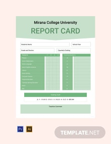 Free College Report Card Template