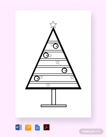 free coloring christmas tree template 1