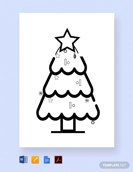 Free Christmas Tree Coloring for Children Template