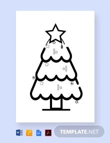 Christmas Tree Coloring for Children Template