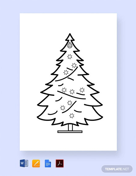 Free Christmas Tree Printable Coloring Page Template