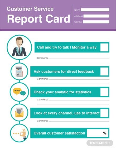 free customer service report card template in adobe photoshop adobe