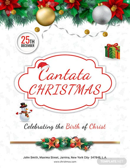 picture about Free Printable Christmas Cantata titled No cost Cantata Xmas Poster Template - PSD Apple Webpages