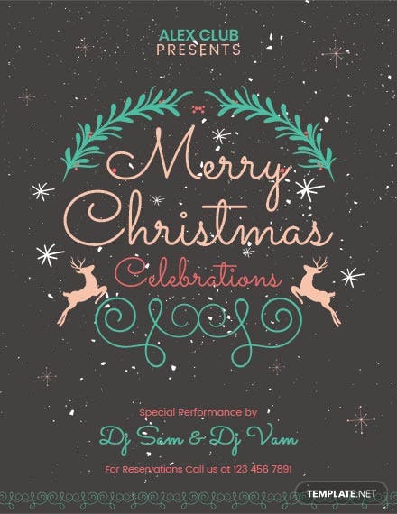 Free Chalkboard Christmas Party Poster Template