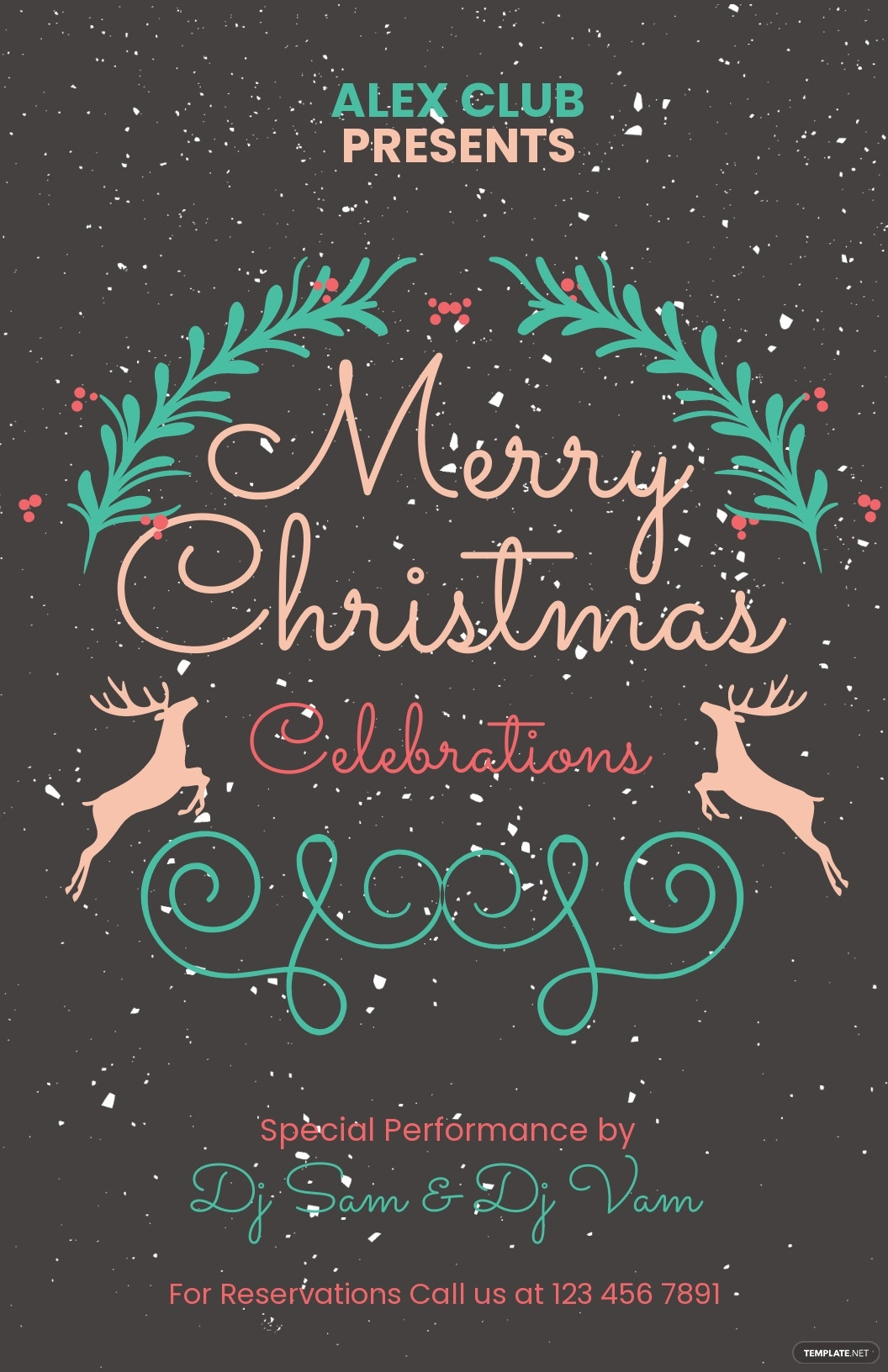Free Chalkboard Christmas Party Poster Template.jpe
