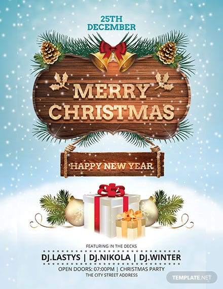 free christmas and new year poster template