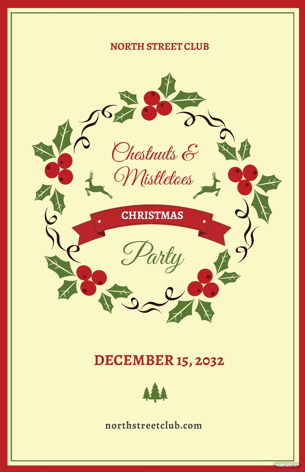 Free Vintage Christmas Party Poster Template.jpe