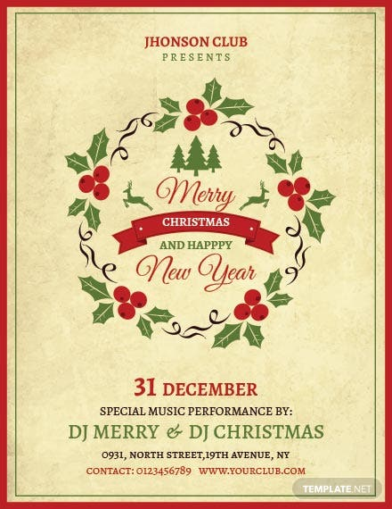 Free Vintage Christmas Party Poster Template