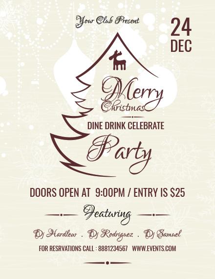 Free Christmas Restaurant Poster Template