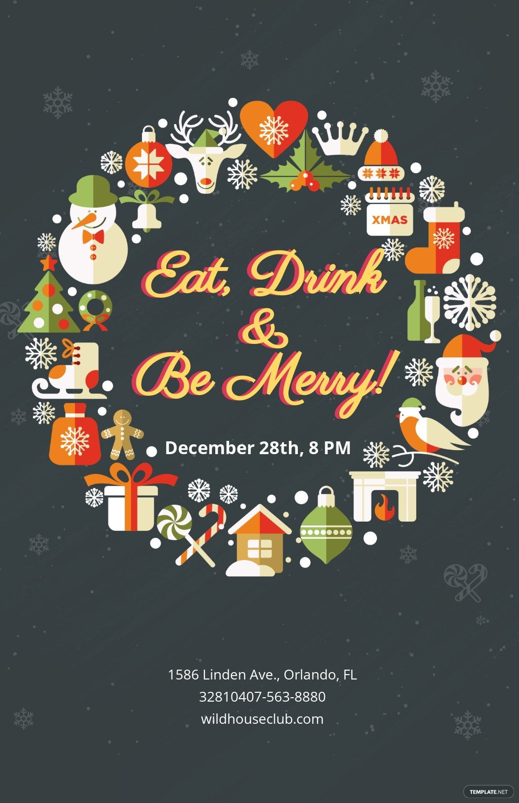 Modern Christmas Holiday Poster Template