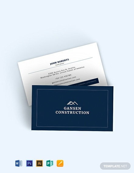 Construction Business Card Template