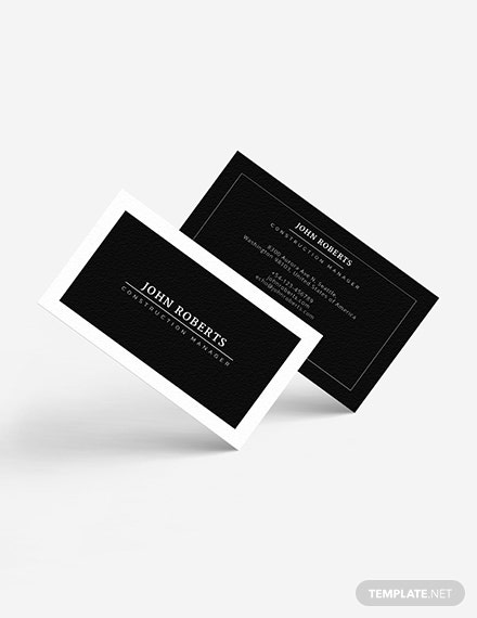 Construction Manager Business Card Download