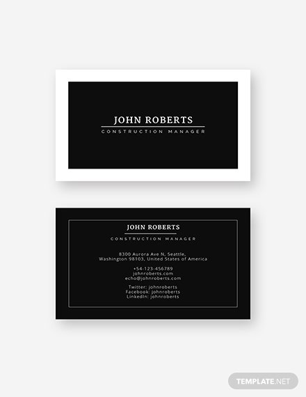 Construction Manager Business Card Sample