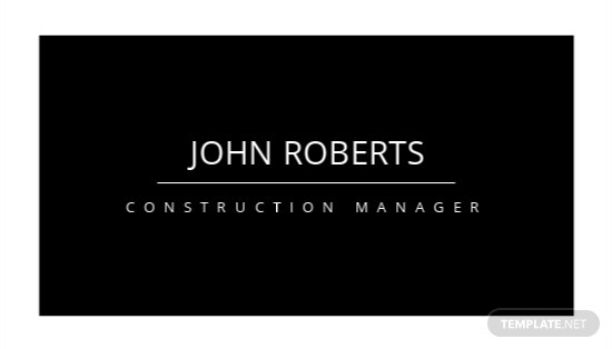 Construction Manager Business Card Template