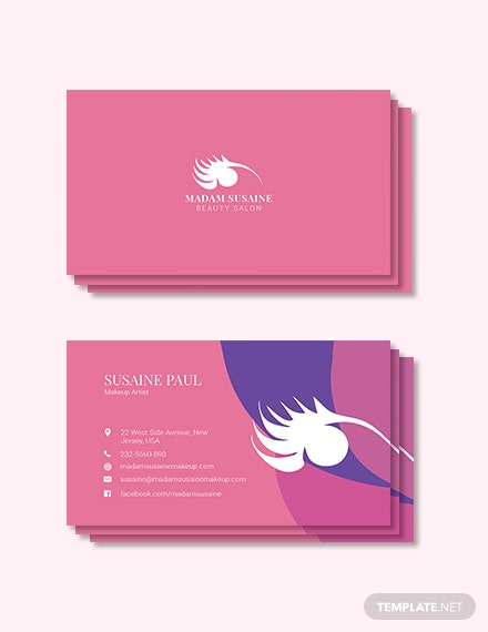 creative makeup artist business card template 1x