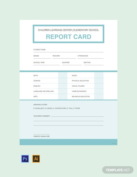 Free Simple Report Card Template
