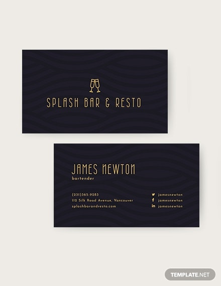 Bartender Business Card Template Download 96 Business Cards In